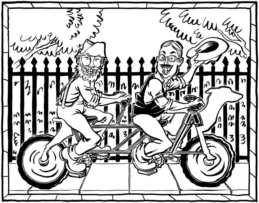 """Brewing a Tandem"" inks by Jesse Baggs"