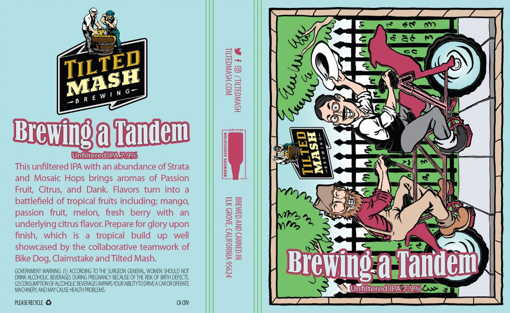"""Brewing a Tandem"" label design by Jesse Baggs"